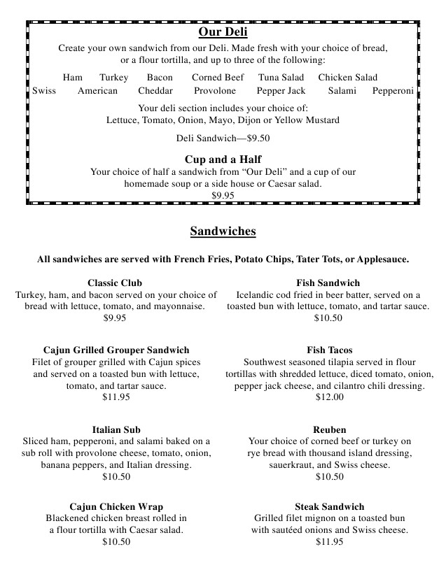 terrace park country club new lunch dinner menu