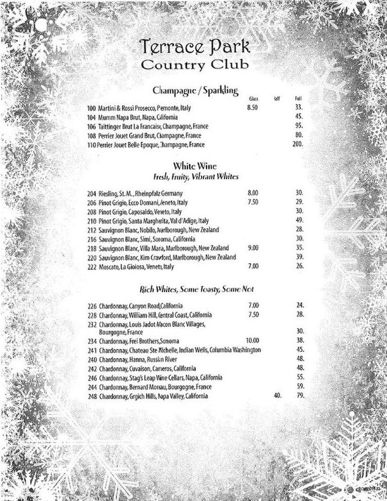 tpcc menu terrace park country club