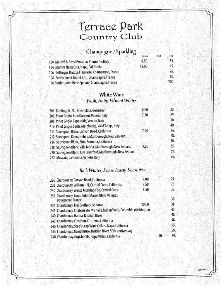 Tpcc menu terrace park country club for Terrace in the park menu